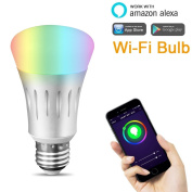 LUXJET WiFi Smart LED Bulb 7W RGBW Dimmable Multicoloured Party Light, Smartphone App Controlled, Home Lighting, No Hub Required, Works with Alexa