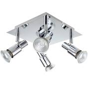 ROMKE Modern Square Silver Chrome 4 Way GU10 Ceiling Spotlight Adjustable Ceiling Kitchen Lights