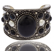 Silvertone with Black Antique Design with Stones 5.1cm Adjustable Cuff Bangle