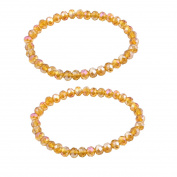 Women Lady Party Faux Crystal Stretchy Chain Wrist Bracelet Clear Orange 2pcs