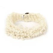 Lady Nylon Plastic Beaded Inlaid Copper Cash Button Bracelet Wristlet Off White