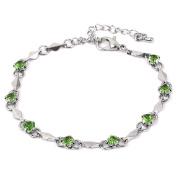Women Metal Plastic Diamond Inlaid Pendant Bracelet Wristlet Silver Tone