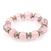 Girls Plastic Luminous Beaded Flower Ornament Elastic Cord Bracelet Pink
