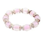 Plastic Luminous Beaded Round Balls Flower Decor Elastic Rope Bracelet Pale Pink