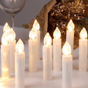 CCLIFE 20/30/40 LED Christmas Candle lights - Warm white/Cold white, Cordless, Remote control, Colour:Beige, Size:30PCS