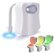 Rantizon Toilet Night Light, Advanced Motion Sensor 8 Colours Colourful LED Toilet Light Two Modes Auto Light Detection Toilet Seat Light, Fits Any Toilet for Bathroom Washroom