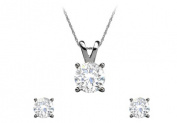 April Birthstone Natural Diamond Earrings Pendant Set