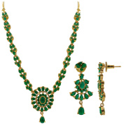Gold Plated Simulated Emerald Floral Indian Ethnic Bollywood Indian Earrings Necklace Set