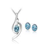 Angel Wing Austrian Crystal Jewellery Set, Necklace and Stud Earrings