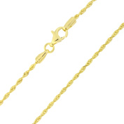 """14k Yellow Gold 1.5mm Solid Diamond-Cut Royal Rope Anklet, 10"""""""