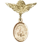 Gold Filled Baby Badge with Lord Is My Shepherd Charm and Angel w/Wings Badge Pin 2.5cm X 1.9cm