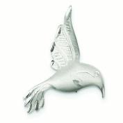Sterling Silver Satin Finish Diamond-Cut Humming Bird Pin - 4.6 Grammes