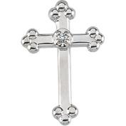 14k White Gold Cross Lapel Pin With Diamond 14x9mm - .01 cwt