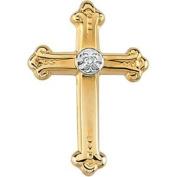14k Yellow Gold Cross Lapel Pin With Diamond 15x10.5mm - .01 cwt