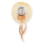 14k Tri-Colour Gold Filigree Diamond-cut Hat Pin - 4.7 Grammes