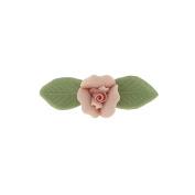 Pink Genuine Porcelain Rose and Green Leaf 14K Gold-Dipped Bar Pin