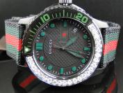 Gucci Brand New Gucci Canvas Strap Diamond Watch