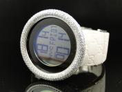 Gucci Ladies White Band Gucci Digital 2 Timezone Diamond Watch
