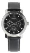 Bulova Men's Black Genuine Leather and Dial