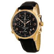 Bulova 97B122 Men's Precisionist Black Dial Leather Strap Rose Gold Steel Chronograph Watch