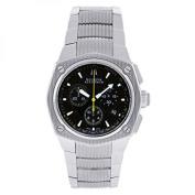 bulova men's 63b111 stainless steel analogue black dial watch