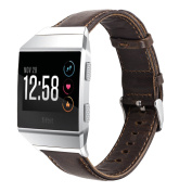 Fitbit Ionic Watch Bands, Mignova Genuine Leather Wristband Bracelet Watch Band Strap with Stainless Steel Buckle Clasp for Fitbit Ionic Smart Fitness Watch