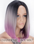 Chantiche Ombre Short Bob Wig 3 Tone Black Rooted Wig, Grey to Purple Synthetic Wigs,Natural Straight Machine Made with Middle Part Heat Resistant