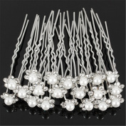 timeracing 20Pcs Women Girl Wedding Bridal Faux Pearl Rhinestone Flower Hair Stick Pins Clips Silver Hairband Jewellery