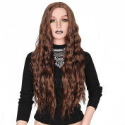 AISI HAIR Brown Wavy Wigs Long Wavy Curly Wig Heat Resistant Fibre Hair Natural Wavy Synthetic Full Wigs for Women Party Wigs