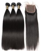 Yavida 8A Brazilian Straight Hair Bundles with Closure Unprocessed Brazilian Virgin Straight Hair 3 Bundles with Free Part Closure Human Hair Extensions 20 20 20+18