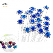 Jelinda® Rose U-shaped Bridal Wedding Crystal Hair Pins Clips Flower Crystal Hair Pins Metal Hair Pins Comb