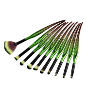 MagiDeal Leaf Shaped 10pcs Makeup Brush Set Foundation Eyebrow Eyeliner Blusher Cosmetic Beauty Brush Angled Fan Brushes Kit - Green, as described