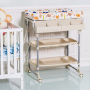 Costway 2 IN 1 Baby Changing Table Bath Tub Rolling Unit Station Storage Trays Dresser