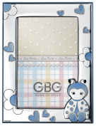 Photo Frame – Les Petits with Sky Blue Ladybird Wooden Back cm 9 x 13 BI Laminate Silver Made In Italy Finished
