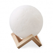 AmyHomie 3D Full Moon Lamp 15cm/5.9in LED Eye Care Luna Night Lights for Kids Touch Control Dimmable Bedside Lamp Decorative Lighting with Wooden Stand USB Cable for Home Decor Toys Gift
