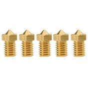 Amazingdeal 5pcs E3D-V5 V6 Nozzle M6 Threaded Brass for Filament 3D Printer