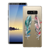 Samsung Note 8 Case Silicone, Galaxy Note 8 Cover, Smartlegend Samsung Galaxy Note 8 Phone Case Soft Premium Transparent Crystal Clear 3D Pattern Design Anti-Scratch Ultra Light Slim Flexible Protective Case Back Cover, Tribe Feather
