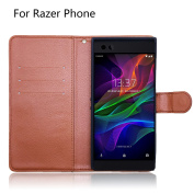 Newzerol PU Leather Flip Case for Razer Phone Case [Drop Against] and Used as Phone Stand, Wallet and Card Case [Lifetime Replacement Warranty]-Brown