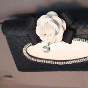 Zantec Tissue Box Vehicle-Mounted Hanging Camellia Tissue Box Decoration Exquisite Napkin Holder Paper Towel Box black