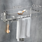 Rhhmjj Towel Stainless Steel Folding Brushed Activity Racks Wall Mounted, B) Towel Rails