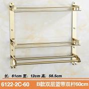 Rhhmjj Towel Stainless Steel Gold Plated Bathroom Folding Bath Racks Mount, Double With Double Bar 60Cm Towel Rails