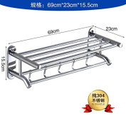 Rhhmjj Towel Stainless Steel Folding To Rotate The Event Built-In Shelf Wall Mounted 70 Cm Stainless Steel Drilling Towel Rails