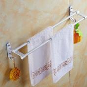 GGHYYO Towel shelf shower room kitchen Wall-Mounted Bar Towel Rail Shelf Double Layer Lengthened Double Layer Punch 50cm