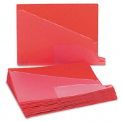 Vinyl Outguides, Bottom Tab Printed Out, 2 Pockets, Letter, Red, 25/Box