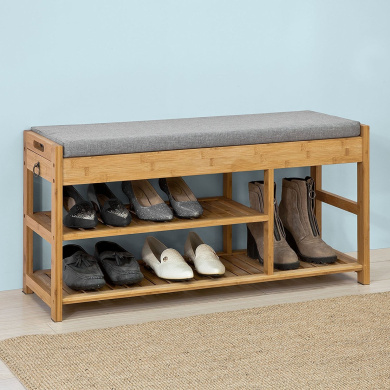 Sobuy 174 Fsr47 N Bamboo Shoe Rack Shoe Bench With Lift Up Bench Top And Seat Cushion Hallway