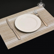Xuan - worth having Placemat Table mats PVC Western insulation pad Rectangular Bowl pad mat 4 pcs Horizontal stripes (45 * 30 cm) Placemats