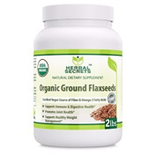 Herbal Secrets Organic Ground Flaxseed 0.9kg Excellent Vegan Source of Fibre & Omega - Fatty Acids USDA Certified Organic- Promotes joint health supports healthy weight management
