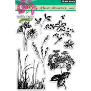 Penny Black Delicate Silhouettes Clear Unmounted Rubber Stamp Set