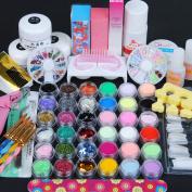 Acrylic Powder Nail Manicure Kit Acrylic Liquid Glitter Powder Stripe File French Tip Sticker Manicure Pedicure Nail Tools Kit