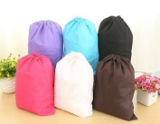 Waterproof Non-woven shoe Clothes storage bag Travel Wash Pouch Drawstring bag Black